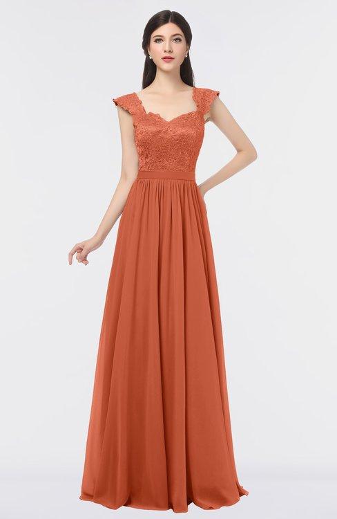 ColsBM Heidi Persimmon Elegant A-line Square Sleeveless Lace Bridesmaid Dresses