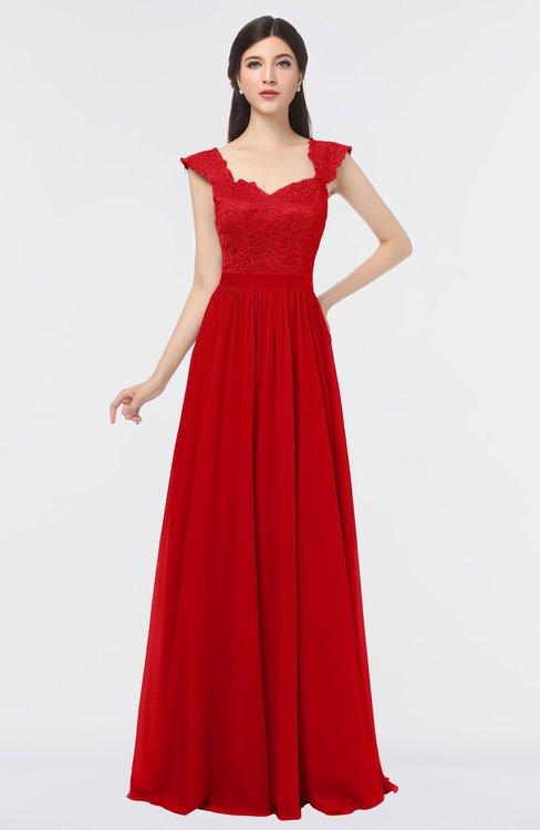 ColsBM Heidi Red Elegant A-line Square Sleeveless Lace Bridesmaid Dresses