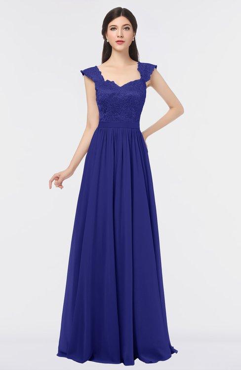 ColsBM Heidi Spectrum Blue Elegant A-line Square Sleeveless Lace Bridesmaid Dresses