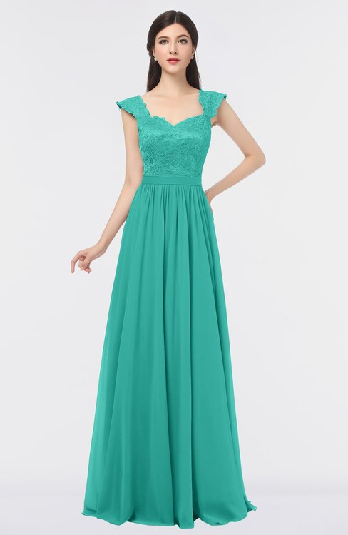 ColsBM Heidi Turquoise G97 Elegant A-line Square Sleeveless Lace Bridesmaid Dresses