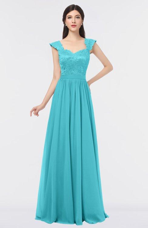 ColsBM Heidi Turquoise Elegant A-line Square Sleeveless Lace Bridesmaid Dresses