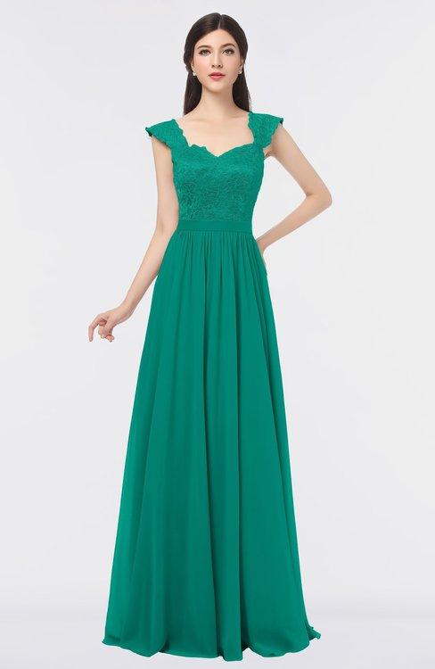 ColsBM Heidi Viridian Green Elegant A-line Square Sleeveless Lace Bridesmaid Dresses