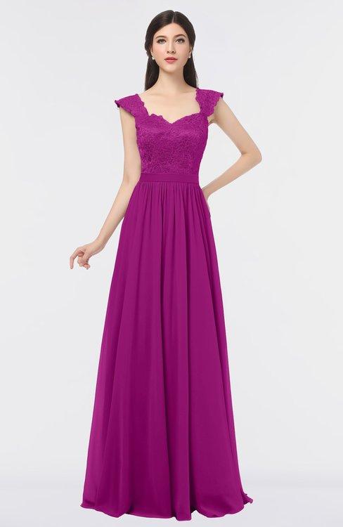 ColsBM Heidi Vivid Viola Elegant A-line Square Sleeveless Lace Bridesmaid Dresses