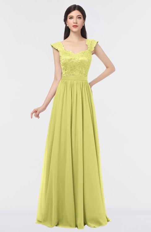 ColsBM Heidi Wax Yellow Elegant A-line Square Sleeveless Lace Bridesmaid Dresses