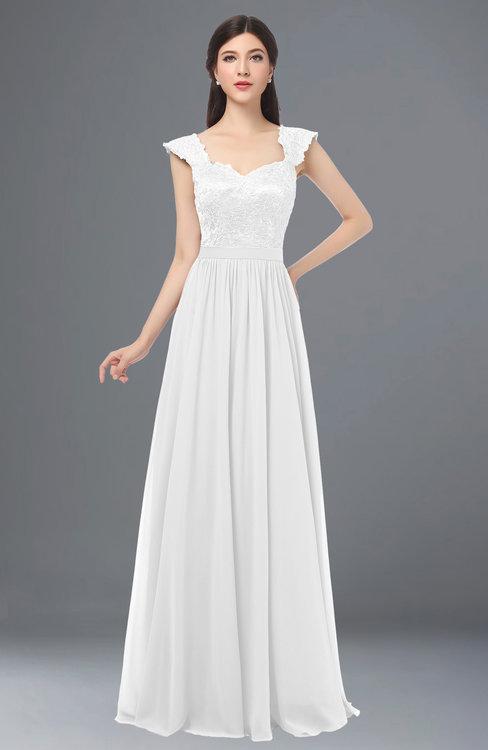 ColsBM Heidi White Elegant A-line Square Sleeveless Lace Bridesmaid Dresses