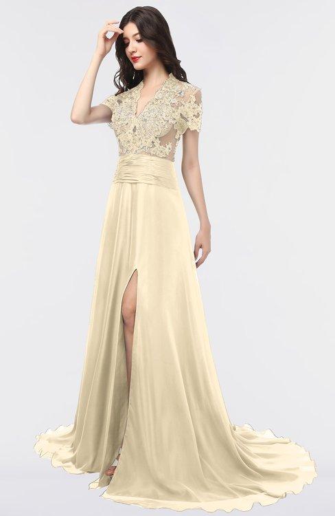 ColsBM Eliza Angora Elegant A-line V-neck Short Sleeve Zip up Sweep Train Bridesmaid Dresses