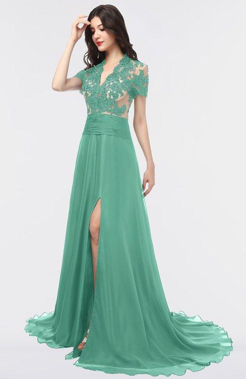 ColsBM Eliza Beryl Green Elegant A-line V-neck Short Sleeve Zip up Sweep Train Bridesmaid Dresses
