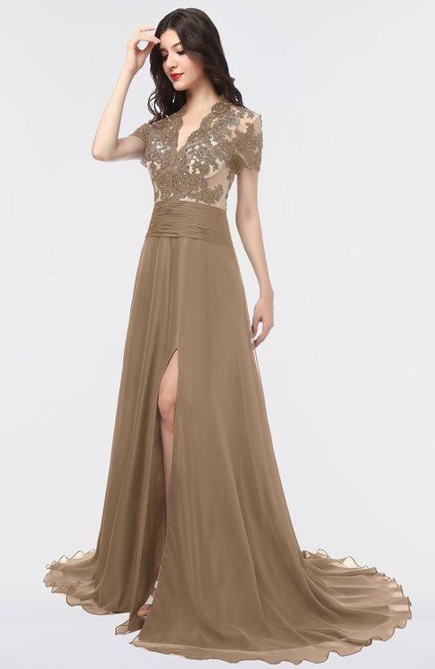 ColsBM Eliza Bronze Brown Elegant A-line V-neck Short Sleeve Zip up Sweep Train Bridesmaid Dresses
