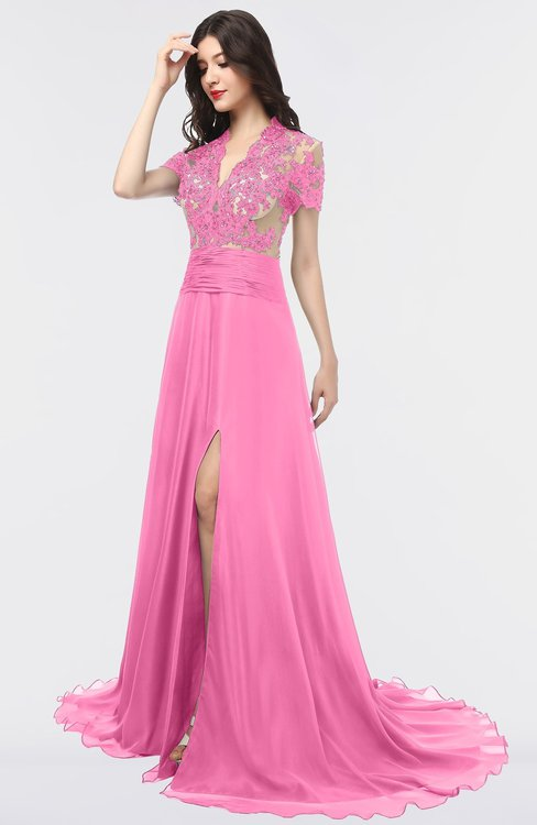 ColsBM Eliza Carnation Pink Elegant A-line V-neck Short Sleeve Zip up Sweep Train Bridesmaid Dresses