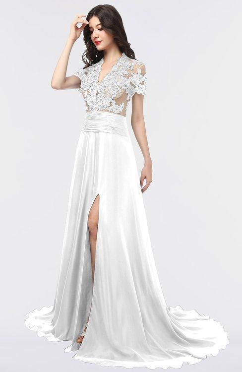 ColsBM Eliza Cloud White Elegant A-line V-neck Short Sleeve Zip up Sweep Train Bridesmaid Dresses