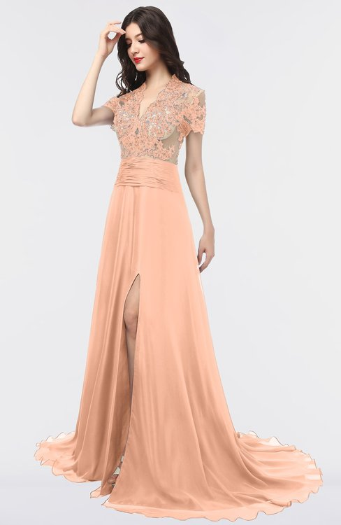 ColsBM Eliza Coral Reef Elegant A-line V-neck Short Sleeve Zip up Sweep Train Bridesmaid Dresses