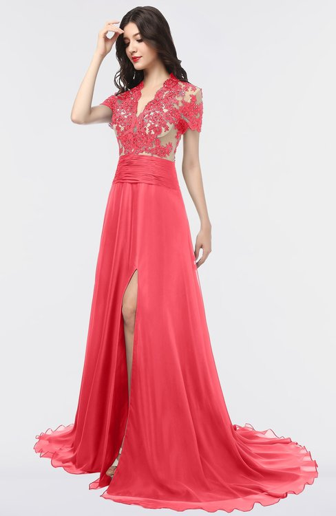 ColsBM Eliza Coral Elegant A-line V-neck Short Sleeve Zip up Sweep Train Bridesmaid Dresses