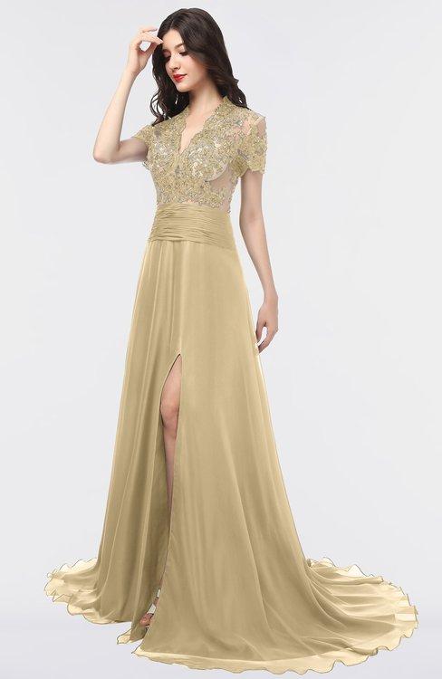 ColsBM Eliza Gold Elegant A-line V-neck Short Sleeve Zip up Sweep Train Bridesmaid Dresses