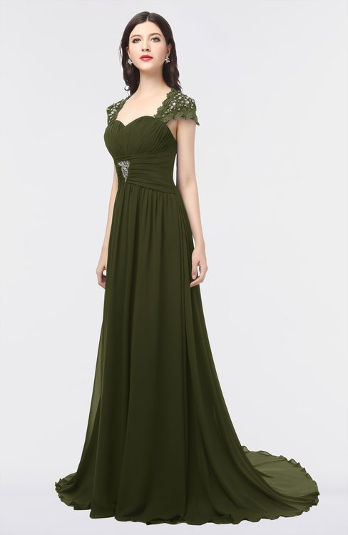 ColsBM Iris Beech Mature A-line Sweetheart Short Sleeve Zip up Sweep Train Bridesmaid Dresses