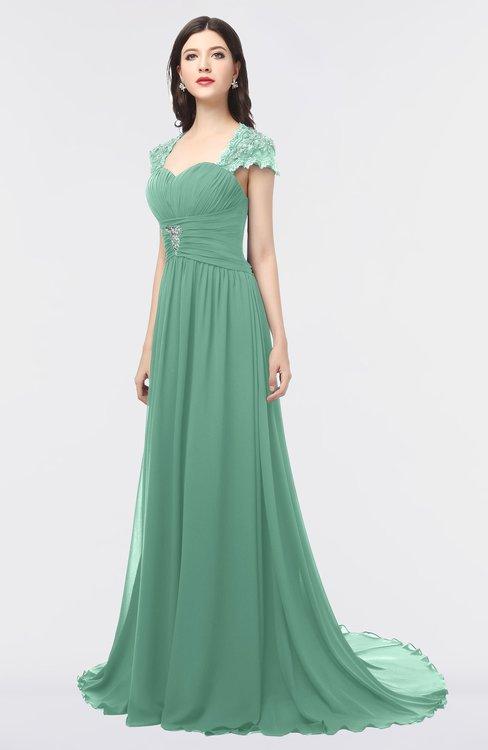 ColsBM Iris Beryl Green Mature A-line Sweetheart Short Sleeve Zip up Sweep Train Bridesmaid Dresses