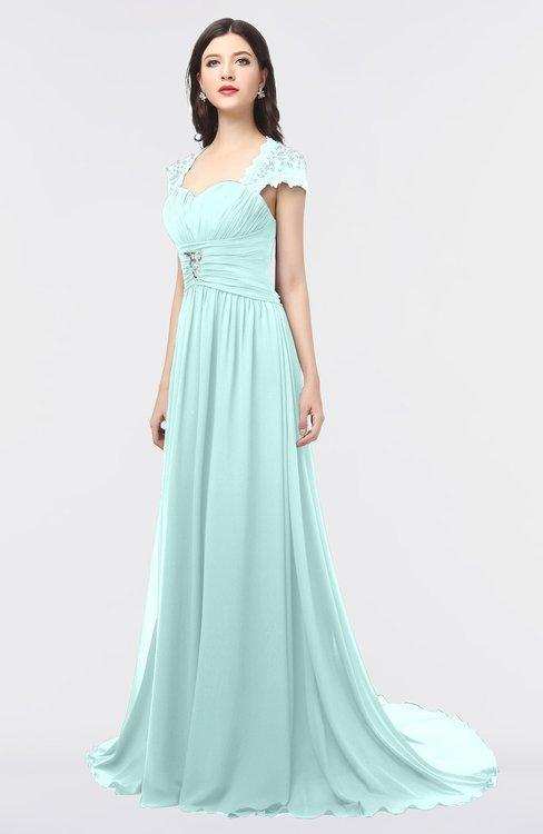 ColsBM Iris Blue Glass Mature A-line Sweetheart Short Sleeve Zip up Sweep Train Bridesmaid Dresses