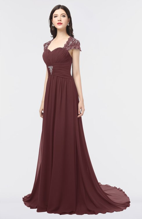 ColsBM Iris Burgundy Mature A-line Sweetheart Short Sleeve Zip up Sweep Train Bridesmaid Dresses