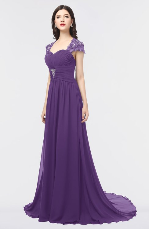 ColsBM Iris Dark Purple Mature A-line Sweetheart Short Sleeve Zip up Sweep Train Bridesmaid Dresses