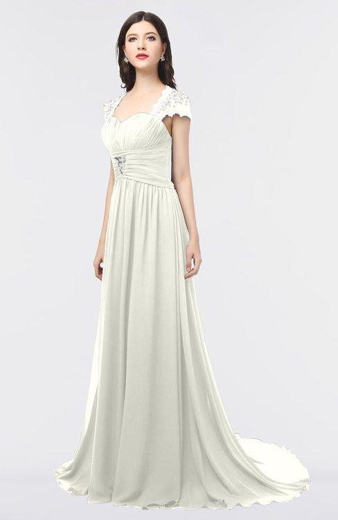 ColsBM Iris Ivory Mature A-line Sweetheart Short Sleeve Zip up Sweep Train Bridesmaid Dresses