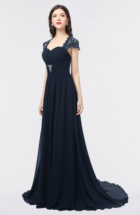 ColsBM Iris Navy Blue Mature A-line Sweetheart Short Sleeve Zip up Sweep Train Bridesmaid Dresses