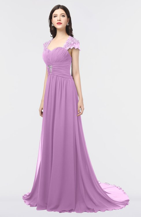 ColsBM Iris Orchid Mature A-line Sweetheart Short Sleeve Zip up Sweep Train Bridesmaid Dresses