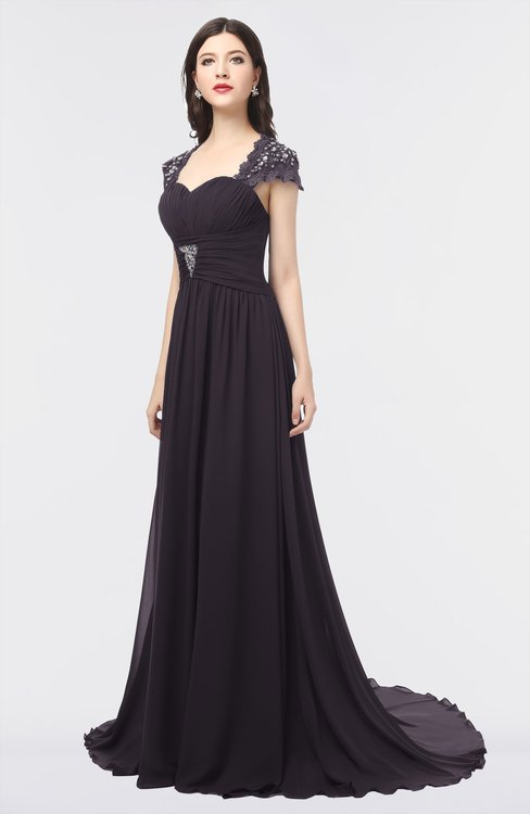 ColsBM Iris Perfect Plum Mature A-line Sweetheart Short Sleeve Zip up Sweep Train Bridesmaid Dresses