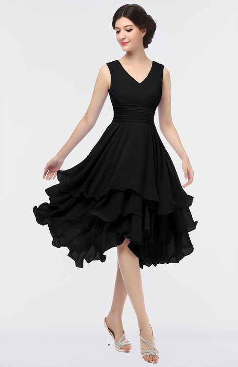 ColsBM Grace Black Elegant V-neck Sleeveless Zip up Ruching Bridesmaid Dresses