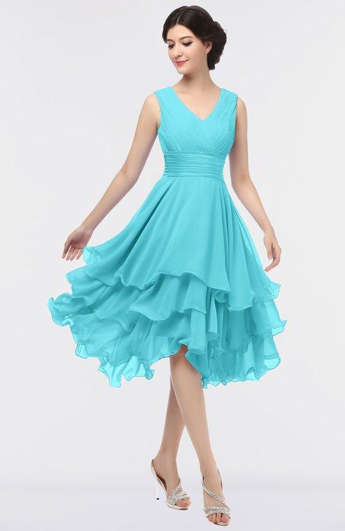 ColsBM Grace Blue Radiance Elegant V-neck Sleeveless Zip up Ruching Bridesmaid Dresses