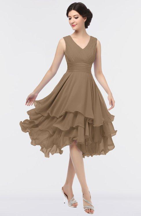 ColsBM Grace Bronze Brown Elegant V-neck Sleeveless Zip up Ruching Bridesmaid Dresses