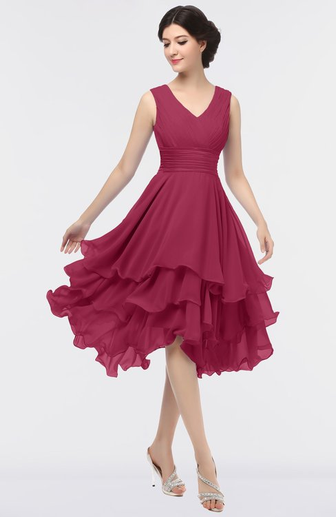 ColsBM Grace Burgundy Elegant V-neck Sleeveless Zip up Ruching Bridesmaid Dresses