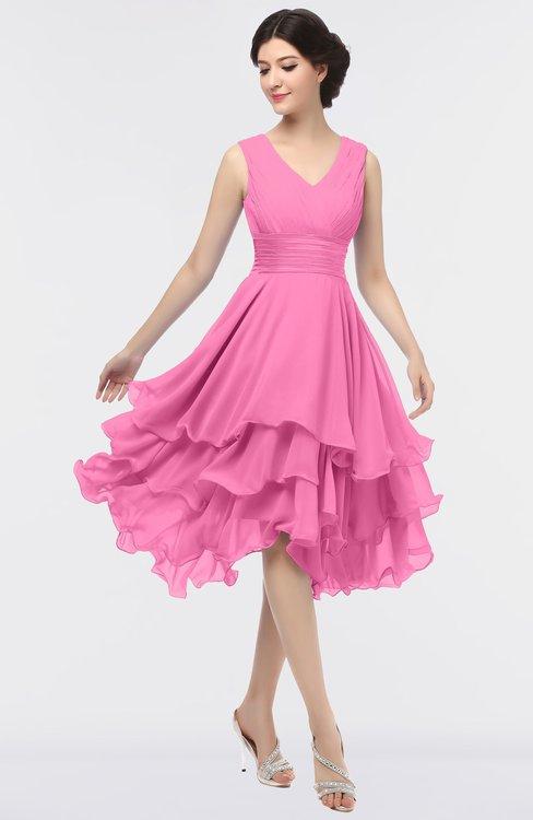 ColsBM Grace Carnation Pink Elegant V-neck Sleeveless Zip up Ruching Bridesmaid Dresses