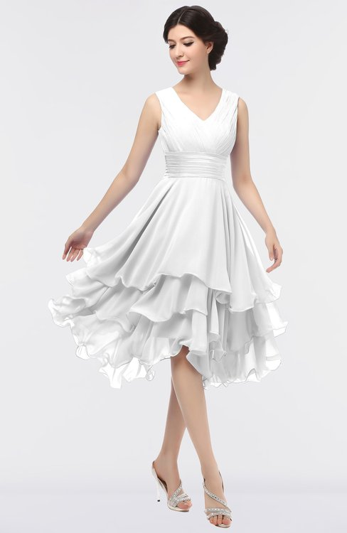ColsBM Grace Cloud White Elegant V-neck Sleeveless Zip up Ruching Bridesmaid Dresses