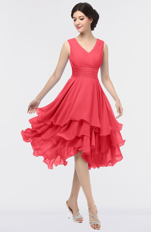 ColsBM Grace Coral Elegant V-neck Sleeveless Zip up Ruching Bridesmaid Dresses