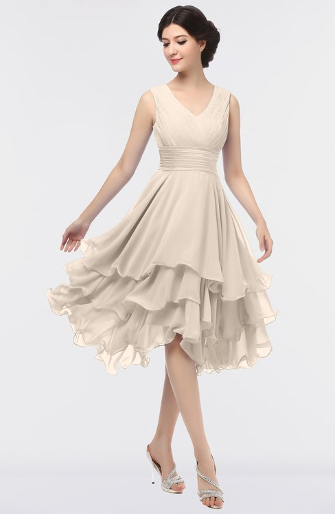 ColsBM Grace Cream Tan Elegant V-neck Sleeveless Zip up Ruching Bridesmaid Dresses