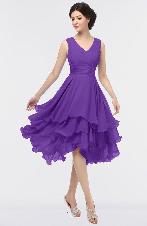 ColsBM Grace Deep Lavender Elegant V-neck Sleeveless Zip up Ruching Bridesmaid Dresses