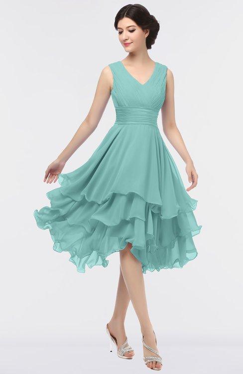 ColsBM Grace Eggshell Blue Elegant V-neck Sleeveless Zip up Ruching Bridesmaid Dresses