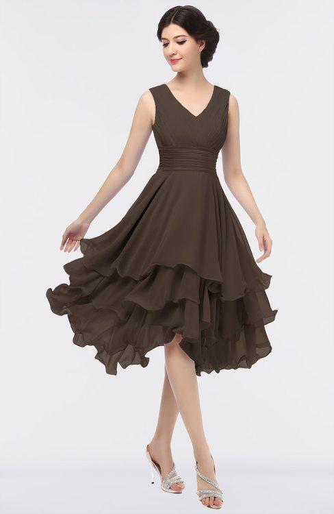 ColsBM Grace Fudge Brown Elegant V-neck Sleeveless Zip up Ruching Bridesmaid Dresses