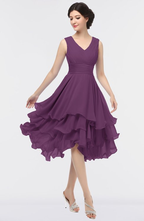 ColsBM Grace Grape Juice Elegant V-neck Sleeveless Zip up Ruching Bridesmaid Dresses
