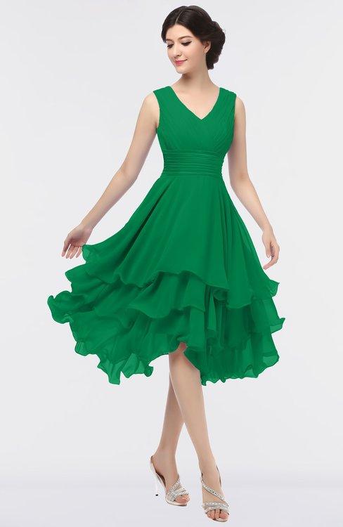 ColsBM Grace Green Elegant V-neck Sleeveless Zip up Ruching Bridesmaid Dresses