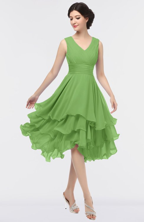 ColsBM Grace Kiwi Green Elegant V-neck Sleeveless Zip up Ruching Bridesmaid Dresses