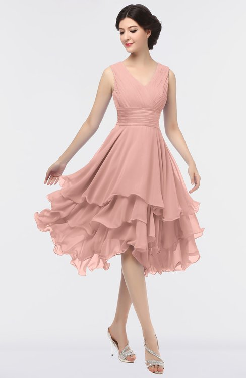 ColsBM Grace Light Coral Elegant V-neck Sleeveless Zip up Ruching Bridesmaid Dresses