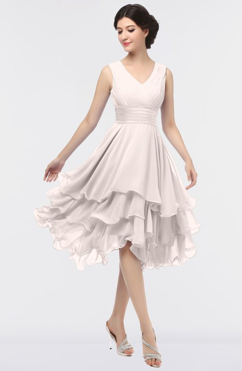 ColsBM Grace Light Pink Elegant V-neck Sleeveless Zip up Ruching Bridesmaid Dresses