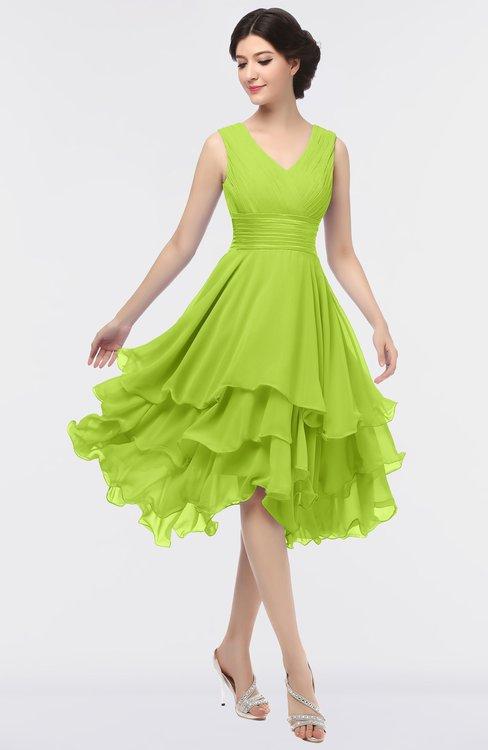 ColsBM Grace Lime Green Elegant V-neck Sleeveless Zip up Ruching Bridesmaid Dresses