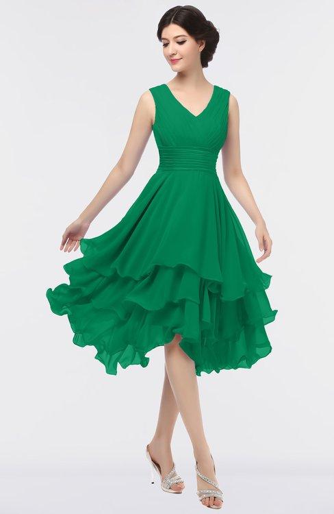 ColsBM Grace Pepper Green Elegant V-neck Sleeveless Zip up Ruching Bridesmaid Dresses