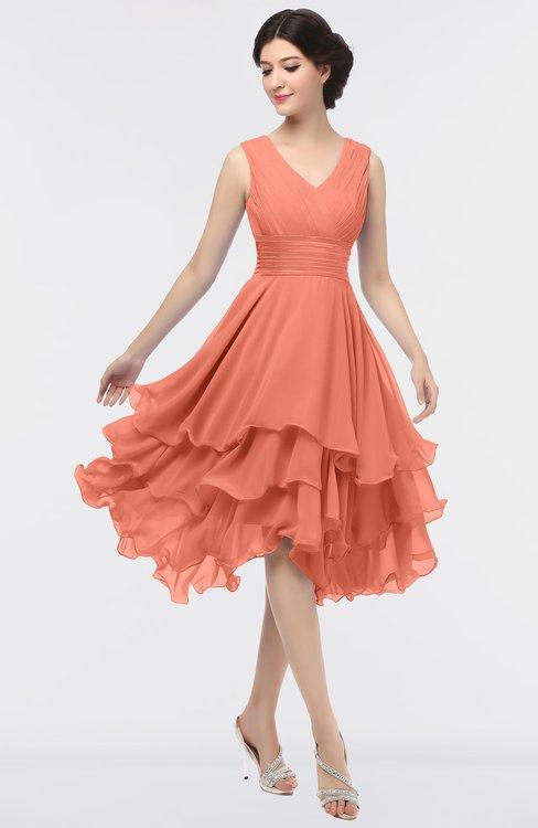 ColsBM Grace Persimmon Orange Elegant V-neck Sleeveless Zip up Ruching Bridesmaid Dresses