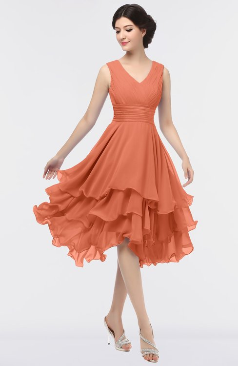 ColsBM Grace Persimmon Elegant V-neck Sleeveless Zip up Ruching Bridesmaid Dresses