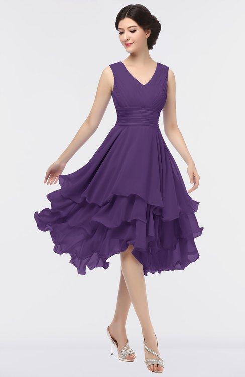 ColsBM Grace Petunia Elegant V-neck Sleeveless Zip up Ruching Bridesmaid Dresses
