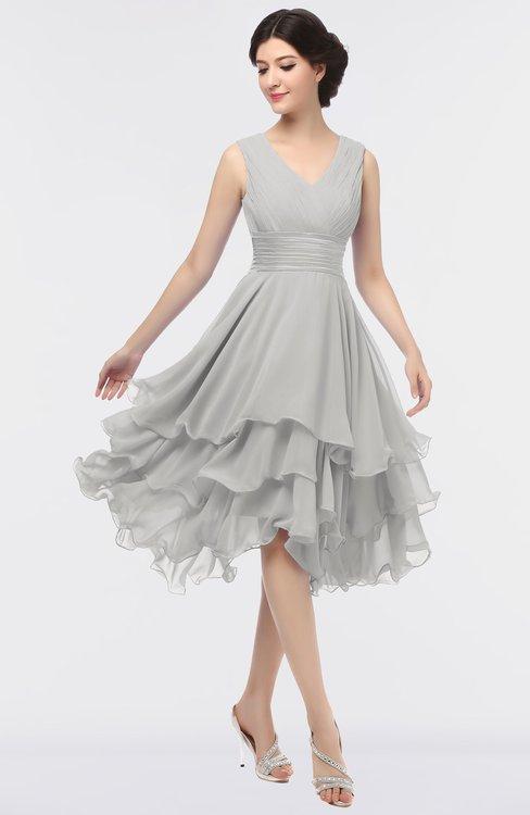 ColsBM Grace Platinum Elegant V-neck Sleeveless Zip up Ruching Bridesmaid Dresses