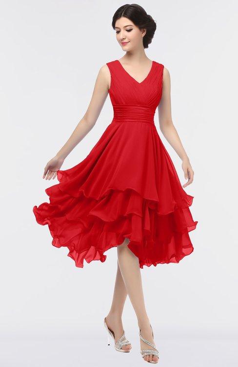 ColsBM Grace Red Elegant V-neck Sleeveless Zip up Ruching Bridesmaid Dresses
