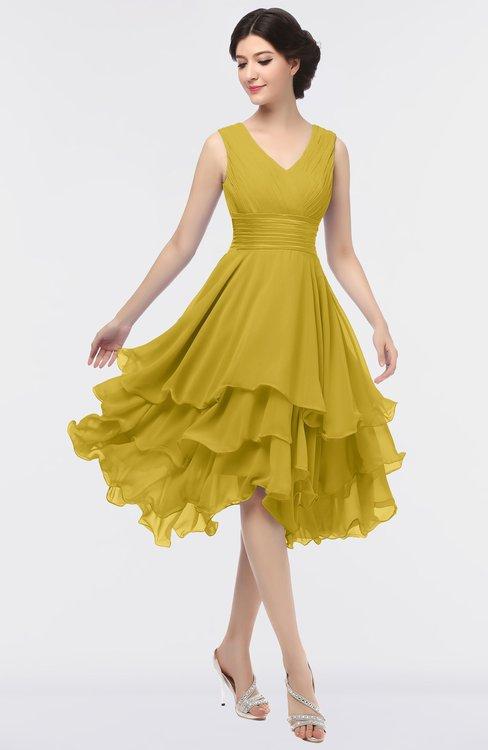 ColsBM Grace Sauterne Elegant V-neck Sleeveless Zip up Ruching Bridesmaid Dresses